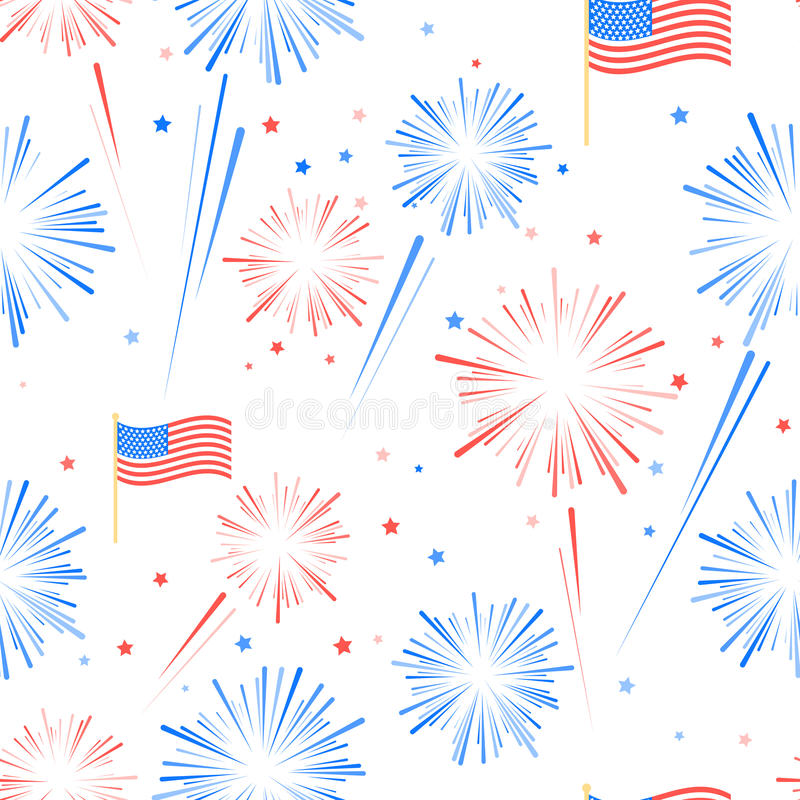 Seamles pattern Fireworks, American flag and stars vector illustration