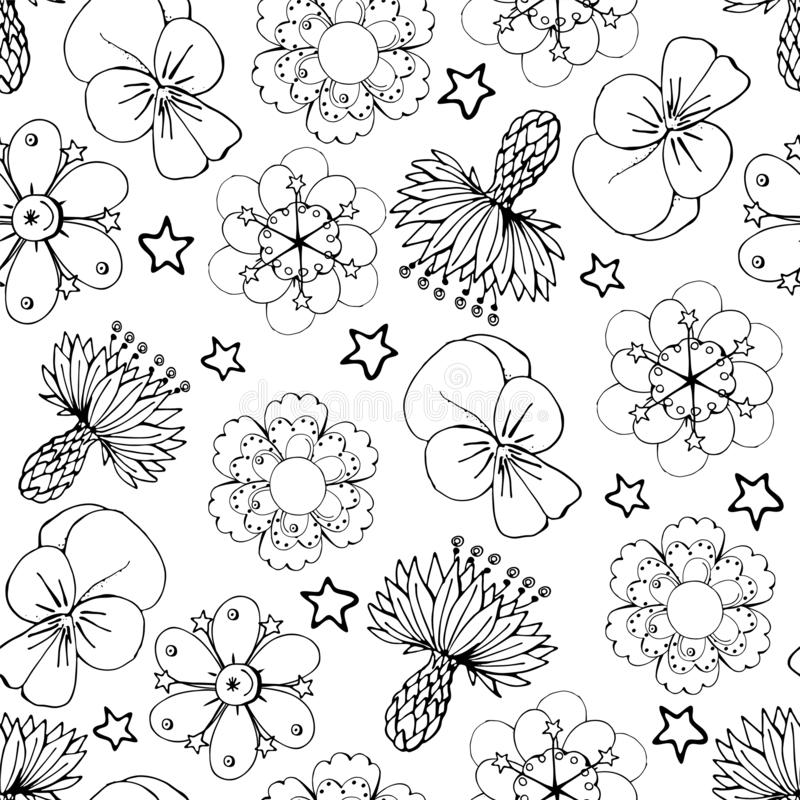 Seamles pattern with monochrome flowers on a white background. Seamles pattern with monochrome flowers on white background royalty free illustration