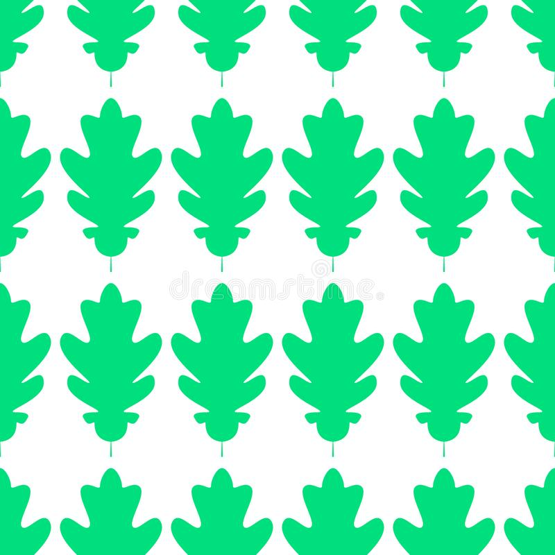 Seamles pattern of silhuette of oak leaves. Flat Icon of oak leaf on white background. Vector illustration. Eps10 royalty free illustration