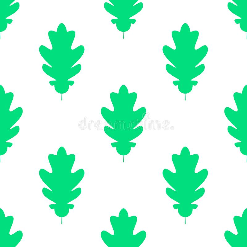 Seamles pattern of silhuette of oak leaves. Flat Icon of oak leaf on white background. Vector illustration. Eps 10 royalty free illustration