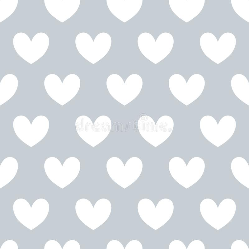 Seamles pattern with white hearts on gray background. vector illustration
