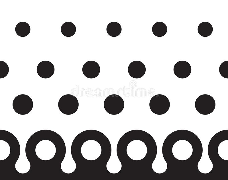 Seamles polka dot pattern with border. Seamles black and white polka dot pattern with border royalty free illustration