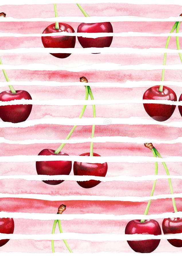 Seamles striped pattern with cherries. Hand drawn watercolor illustration. Seamles red striped pattern with cherries. Hand drawn watercolor illustration stock illustration