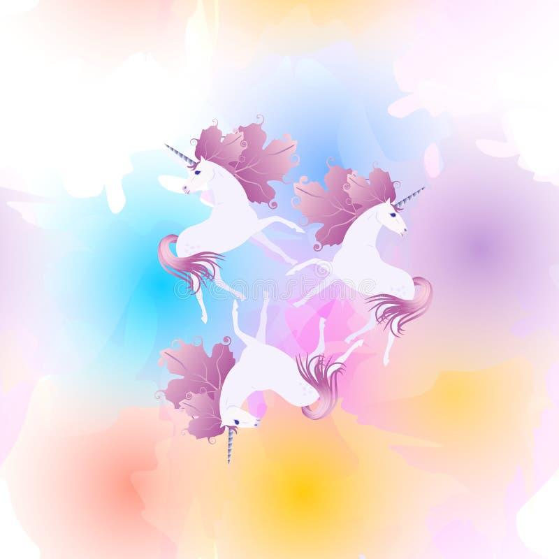Seamles spattern с волшебными единорогами с гривой в форме листьев калины против пятен радуги Печать для ткани r бесплатная иллюстрация