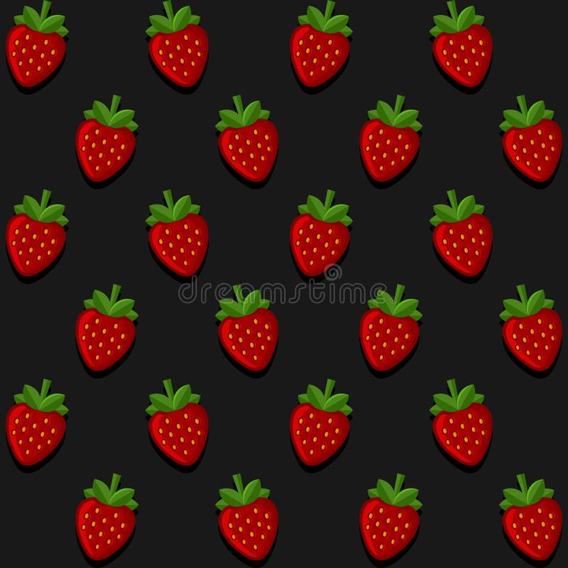 Seamles Strawberry Pattern on Dark Background. Vector. Illustration royalty free illustration
