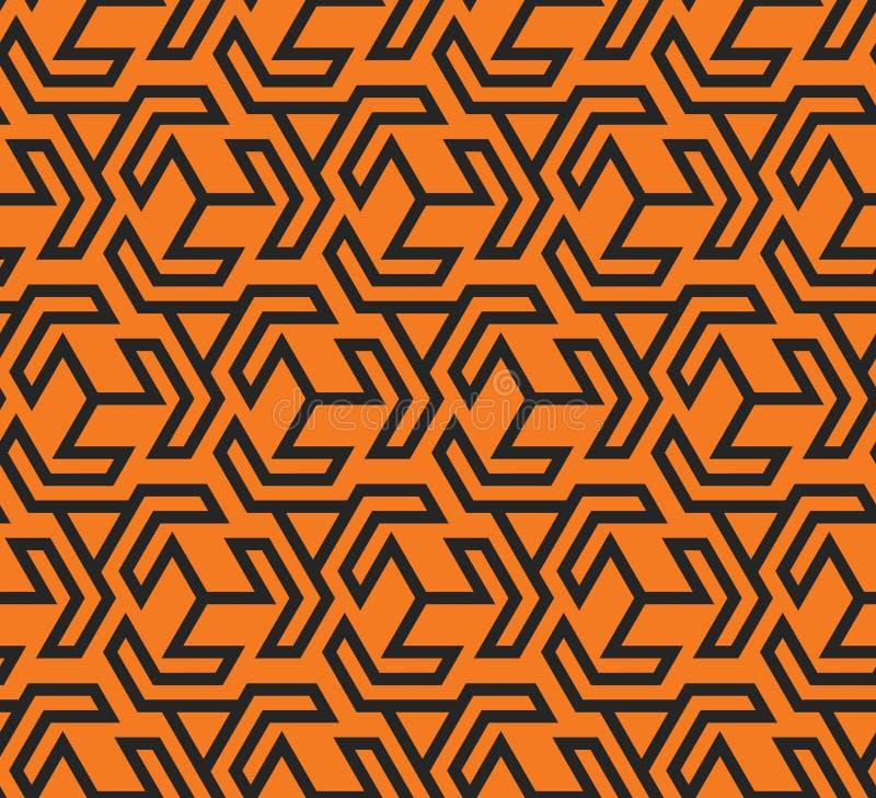 Seamles svärtar gulnar den geometriska modellen med triangulära former och - vektorn eps8 stock illustrationer