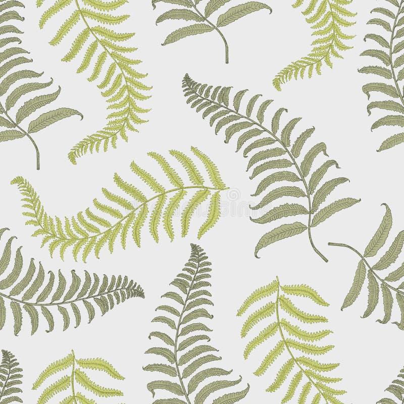 Seamles uitstekend tropisch patroon met bladeren, getrokken of gegraveerde hand het uitstekende kijken blad en installaties stock illustratie