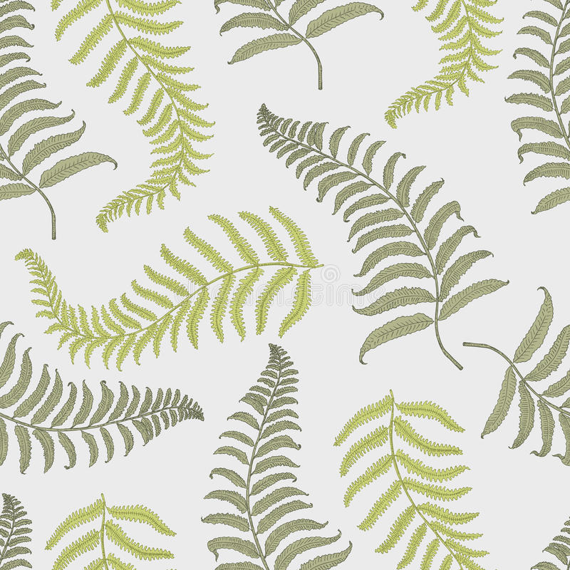 Seamles vintage tropical pattern with leaves, hand drawn or engraved. vintage looking leaf and plants stock illustration