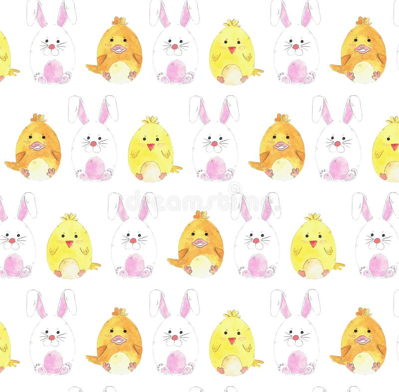 Watercolor pattern with Easter eggs. Cute little bunny, chicken and duck. stock illustration