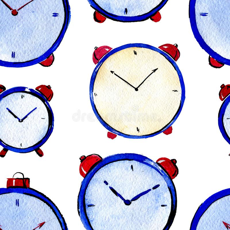 Seamles watercolor pattern of watches on white background. Seamles watercolor pattern of blue watches on white background royalty free stock image