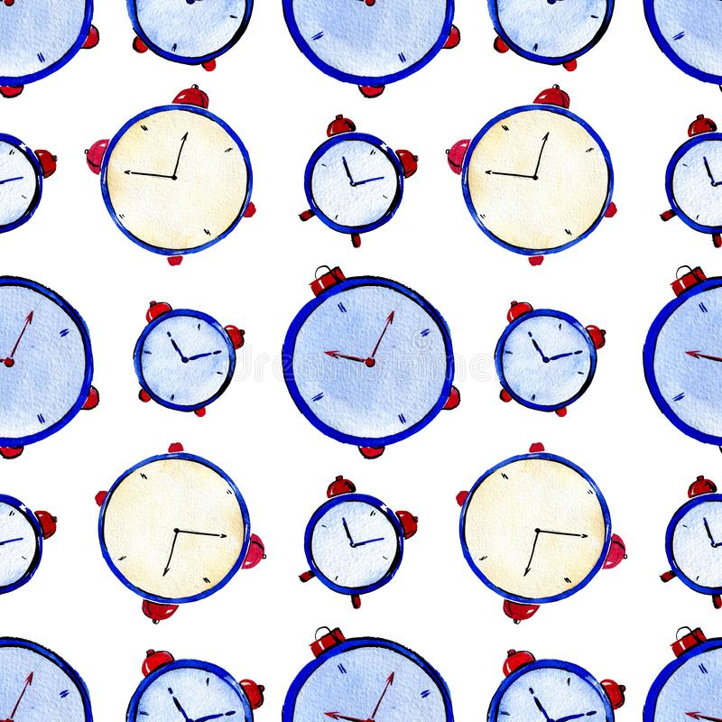 Seamles watercolor pattern of watches on white background. Seamles watercolor pattern of blue watches on white background royalty free stock photo