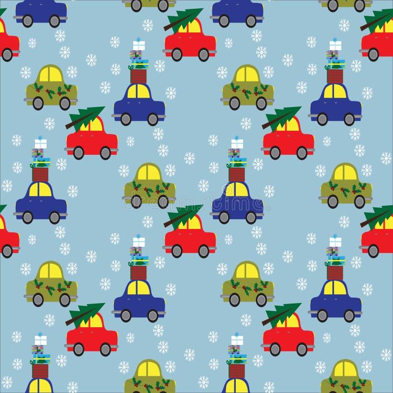 Seamles wzór z retro samochodami z choinki i prezenta pudełkami ilustracja wektor