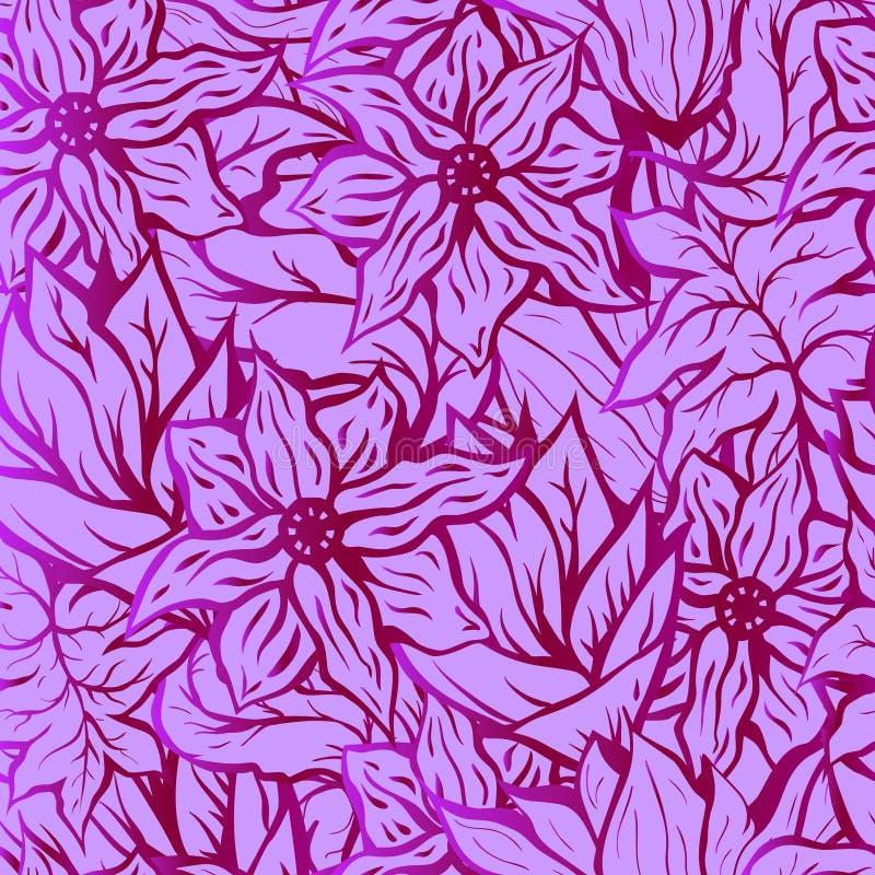 Seamlesachtergrond met helder bloemenpatroon van hand getrokken krabbelbloemen Goed voor behang of textiel royalty-vrije illustratie