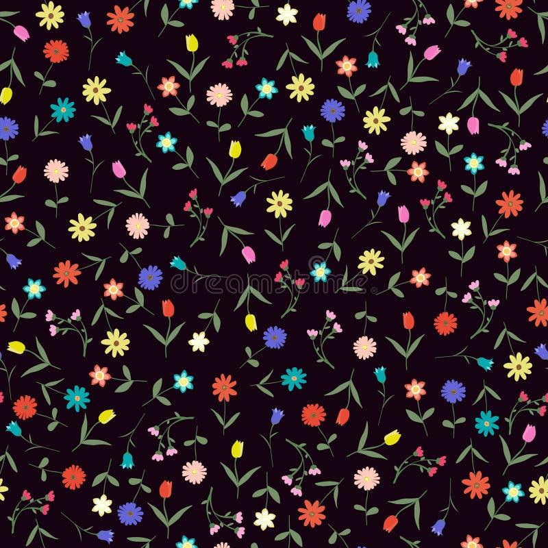 Seamleshand getrokken bloemendiepatroon op donkere vectorillustratie wordt geïsoleerd als achtergrond vector illustratie