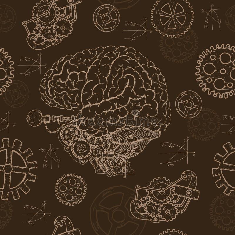 04_Seamless υπόβαθρο με τον ανθρώπινο εγκέφαλο και τα μηχανικά μέρη διανυσματική απεικόνιση