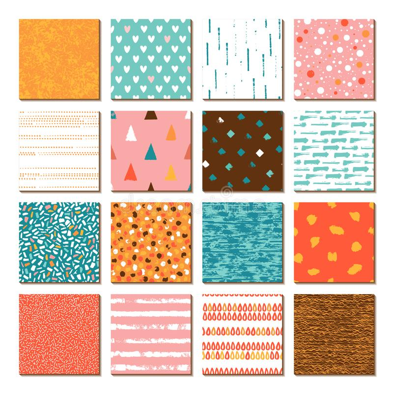 Set of 16 seamless texture. Drops points lines stripes circles squares rectangles. vector illustration