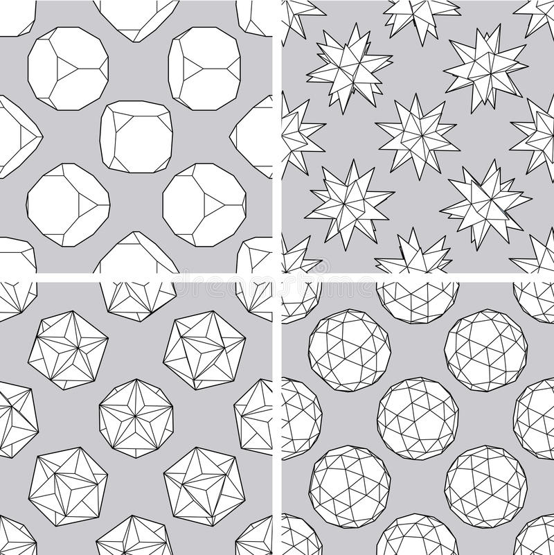Seamless 3d Polygon Backgrounds Stock Image