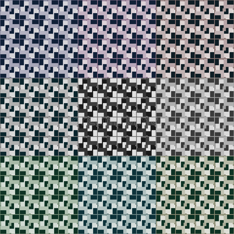 Seamless 3d squares vector patterns vector illustration