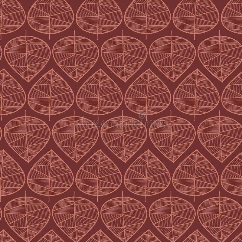 Seamless abstract autumn leaves vector background. Floral stylish pattern. Vector repeating texture stylized leaves pink on red. vector illustration