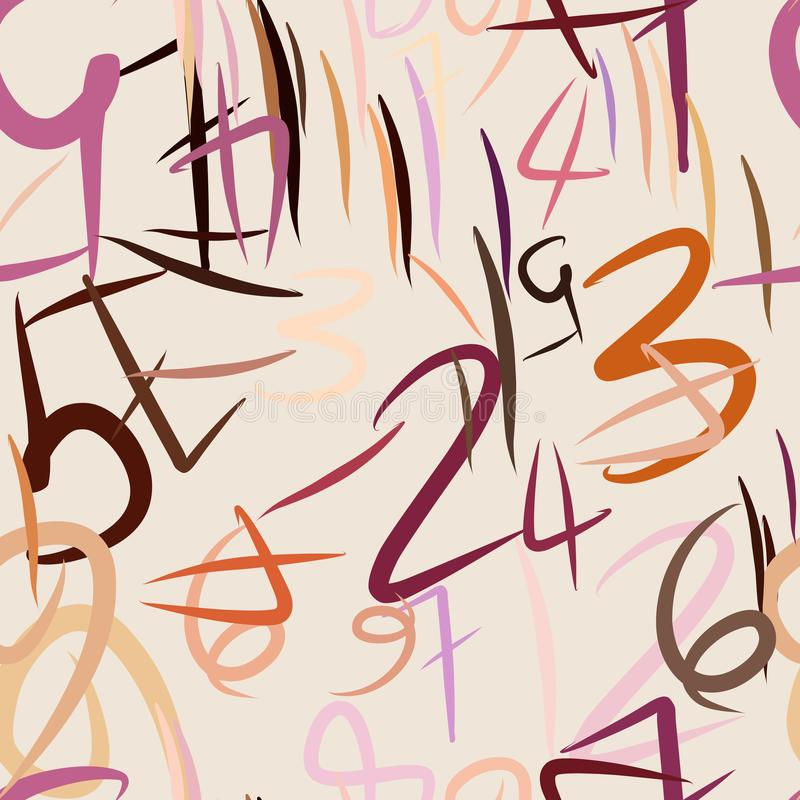 Seamless abstract background with numbers. Effect, details, design & education. royalty free illustration