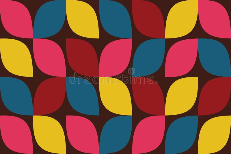 Seamless, abstract background pattern made with colorful drop like curvy geometric shapes vector illustration