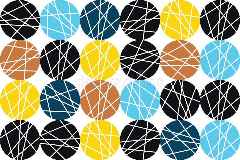 Seamless, abstract background pattern made with colorful, striped circles royalty free illustration
