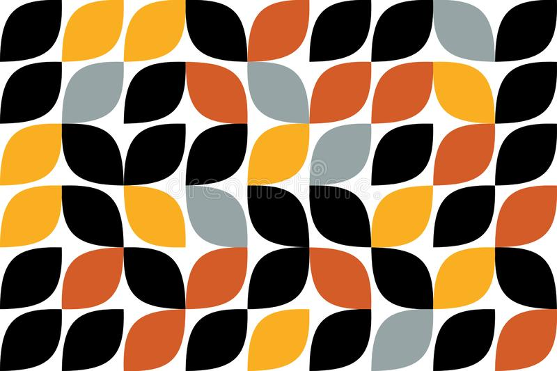 Seamless, abstract background pattern made with curvy drop like shapes royalty free illustration
