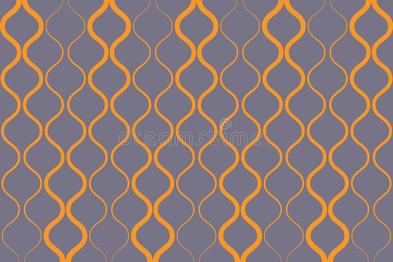Seamless, abstract background pattern made with curvy yellow colored lines vector illustration