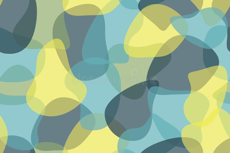 Seamless, abstract background pattern made with organic, transparent geometric shapes royalty free illustration