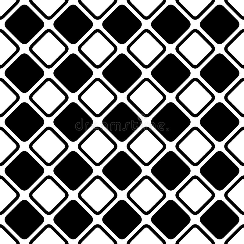 Seamless abstract black and white square grid pattern - halftone vector background design from diagonal rounded squares. Seamless abstract black and white square vector illustration