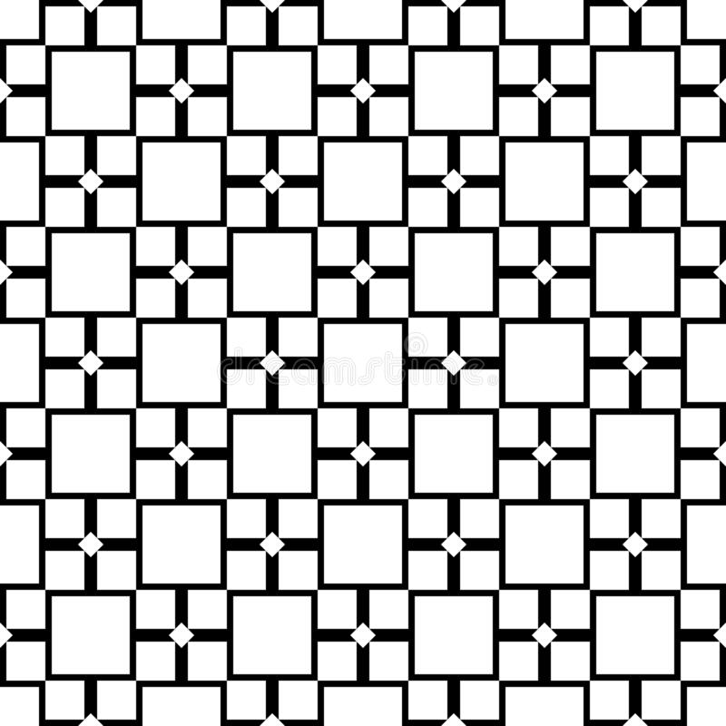 Seamless abstract black and white square grid pattern - halftone vector background design from diagonal rounded squares Repeated d. Seamless abstract black and vector illustration