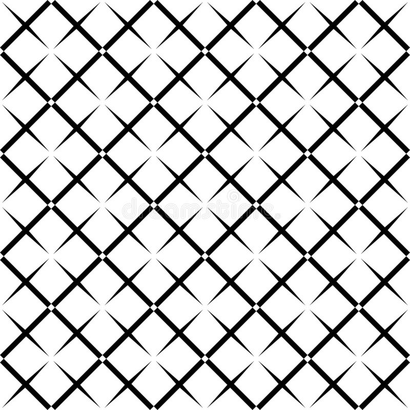 Seamless abstract black and white square grid pattern - halftone vector background design from diagonal rounded squares stock illustration