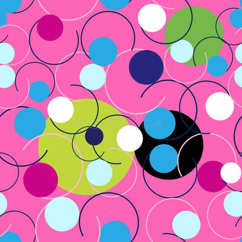 Seamless Abstract bright pattern of circles and curls vector illustration