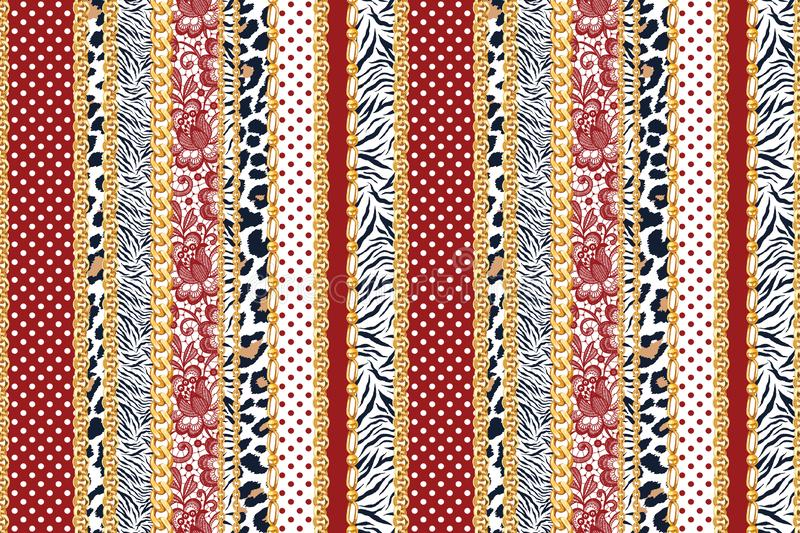 Seamless abstract chains pattern with Leopard, Zebra and red dots with gold chains pattern ready for textile prints. Seamless abstract chains pattern with stock illustration