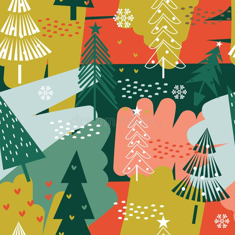 Seamless abstract Christmas background with red and green color. stock illustration