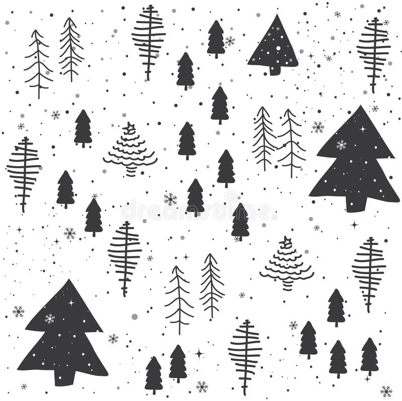 Seamless abstract Christmas trees pattern stock illustration
