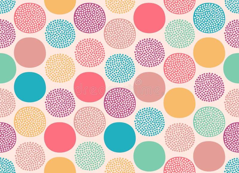 Seamless abstract dots circles pattern stock illustration