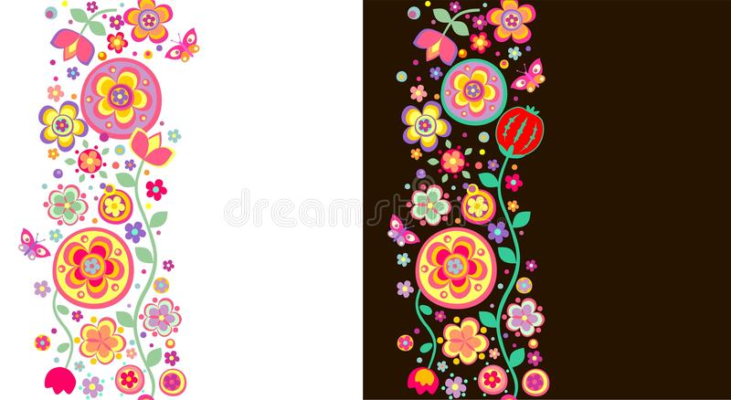 Seamless abstract floral borders royalty free illustration