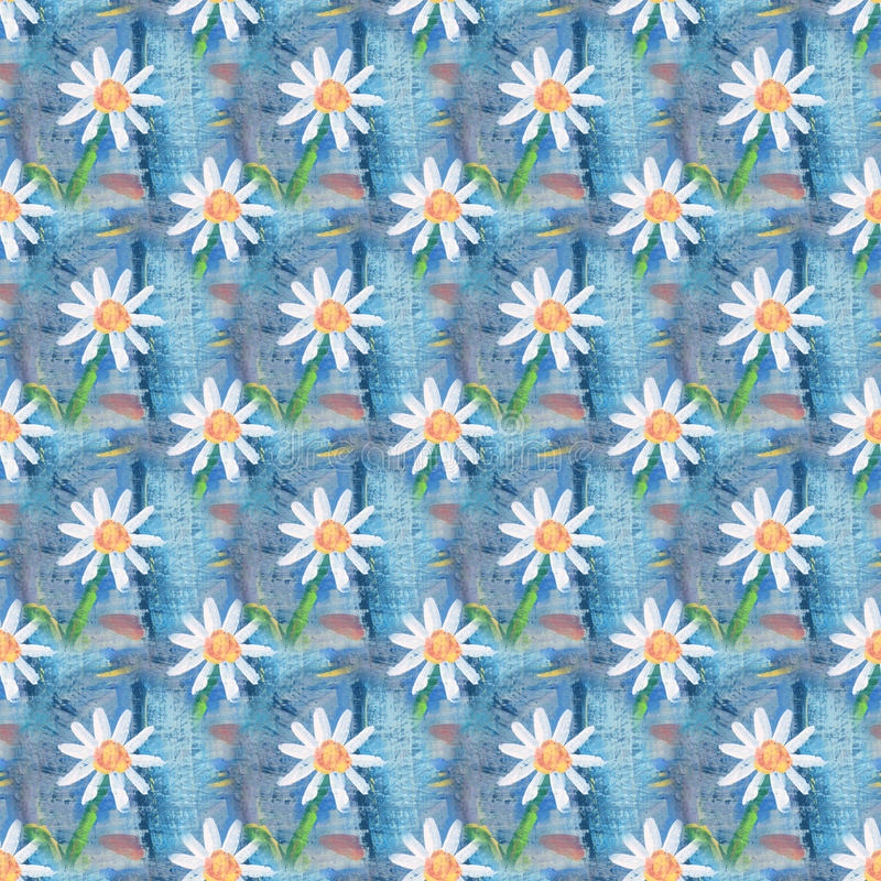 Seamless abstract floral pattern with chamomile flowers. Endless background. Fun and cute texture with cartoon chamomile.  vector illustration