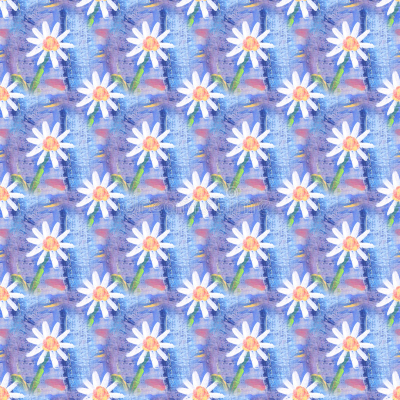 Seamless abstract floral pattern with chamomile flowers. Endless background. Fun and cute texture with cartoon chamomile.  stock illustration