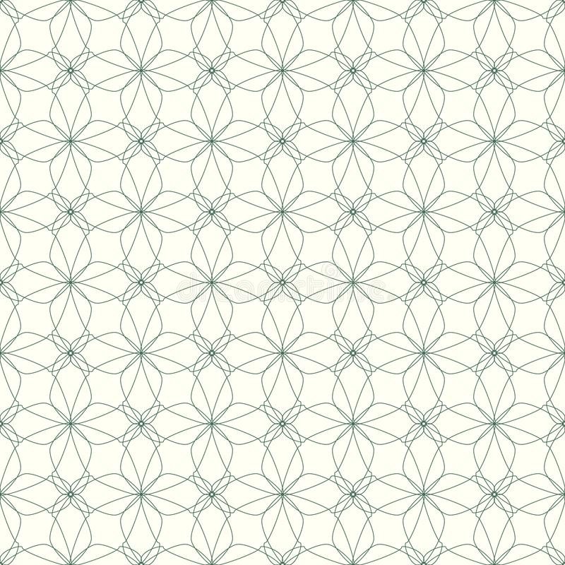 Seamless abstract floral pattern. Geometric flower ornament on a white. Seamless abstract floral pattern. Geometric flower ornament on a white background royalty free illustration