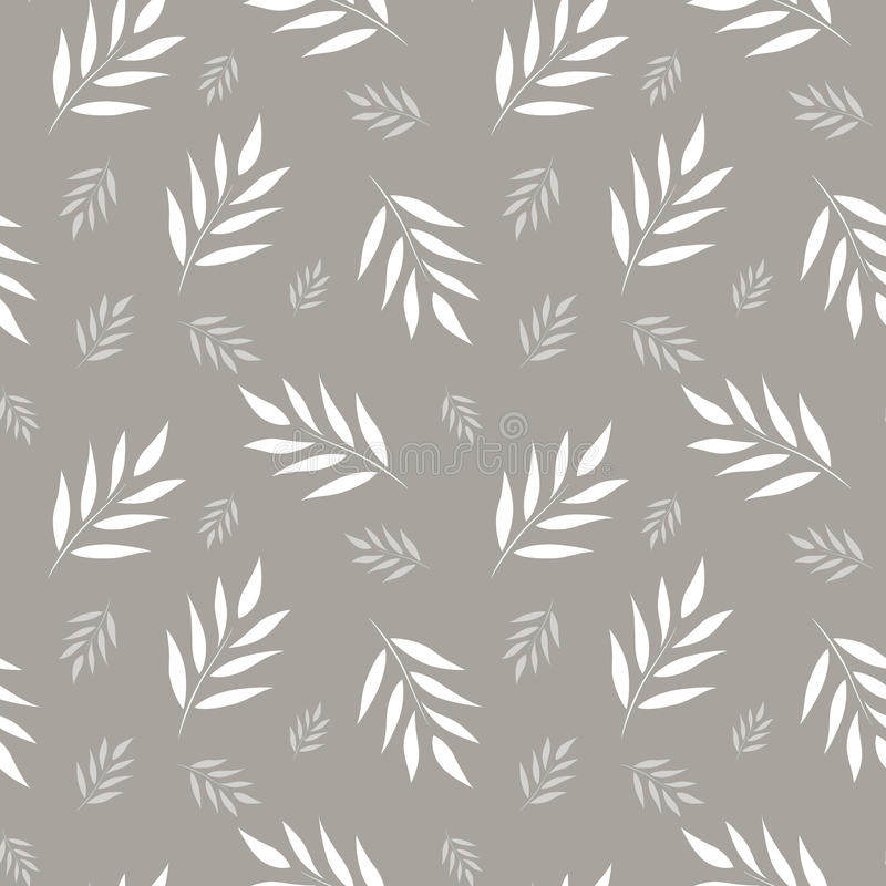 Seamless abstract floral pattern. Gray and white vector background. Leaves ornament for wrapping, wallpaper, tiles vector illustration