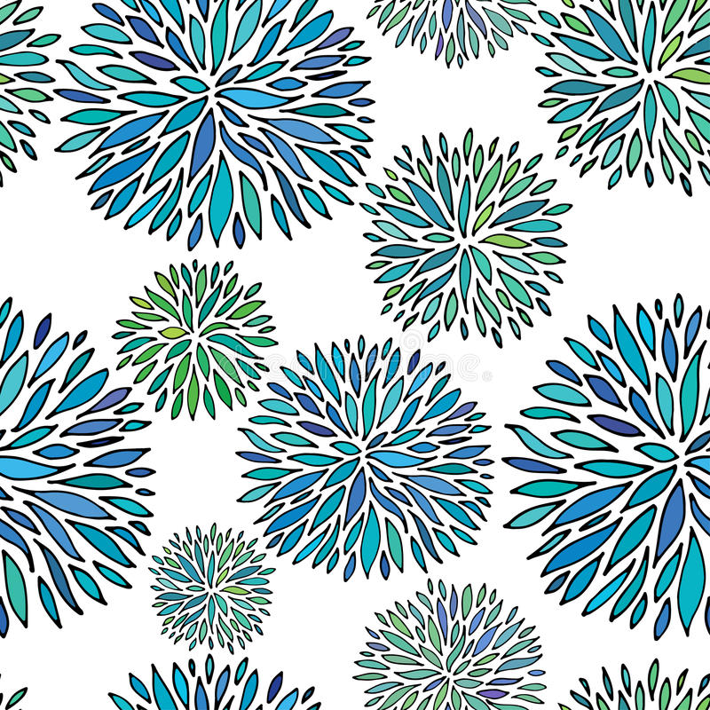 Seamless abstract floral pattern. Hand drawing vector ornament royalty free illustration