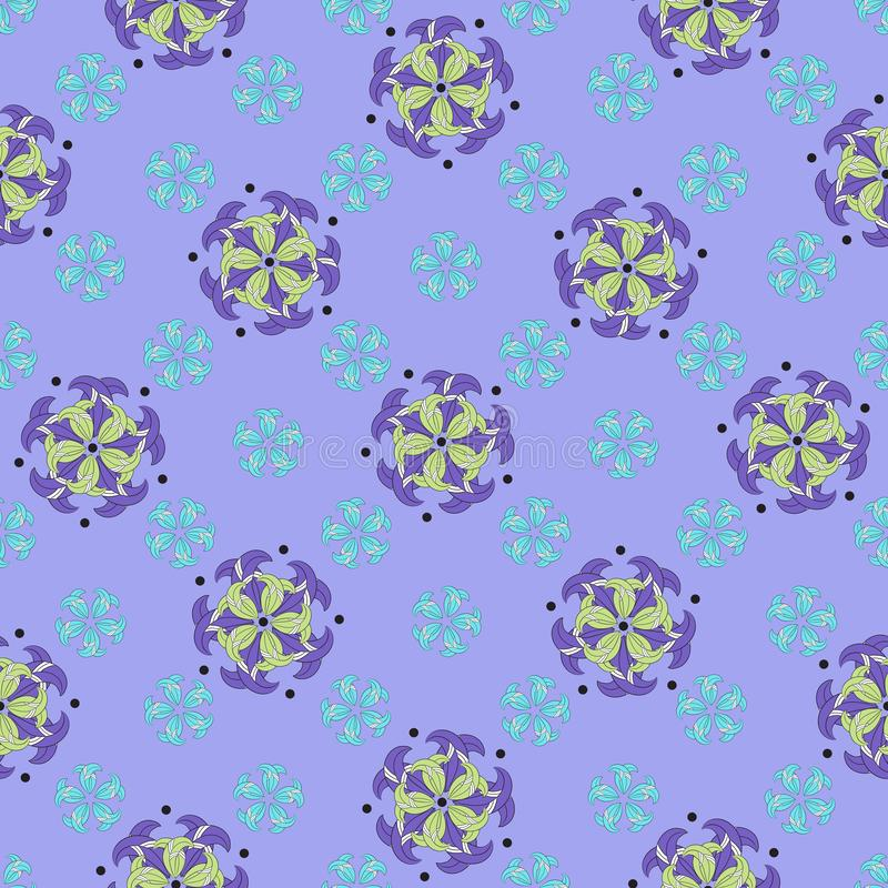 Seamless abstract floral pattern of large flowers with violet and yellow-green petals, small blue flowers. White stripes, black stock illustration