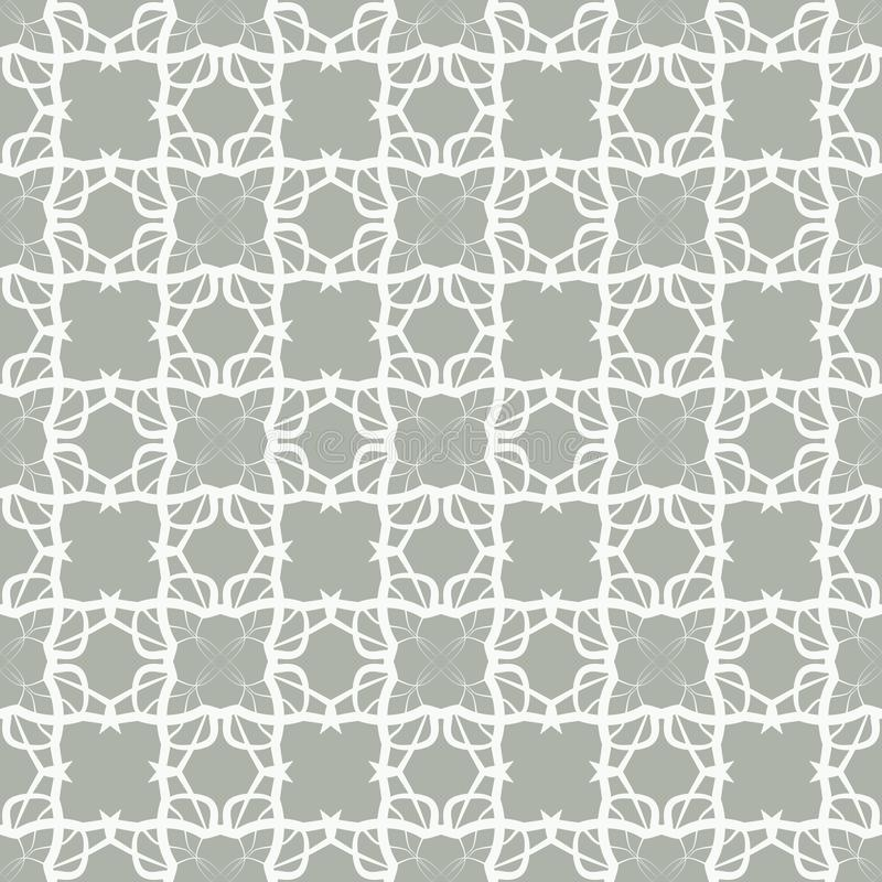 Seamless abstract floral pattern in oriental style. Geometric flower ornament on a white background. stock illustration