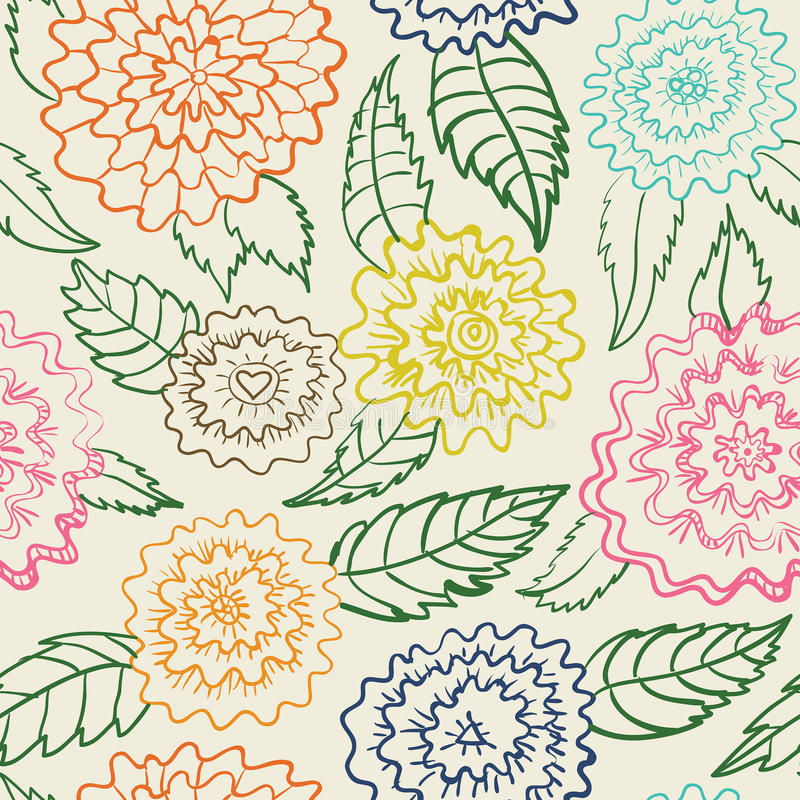 Seamless abstract flowers pattern royalty free illustration