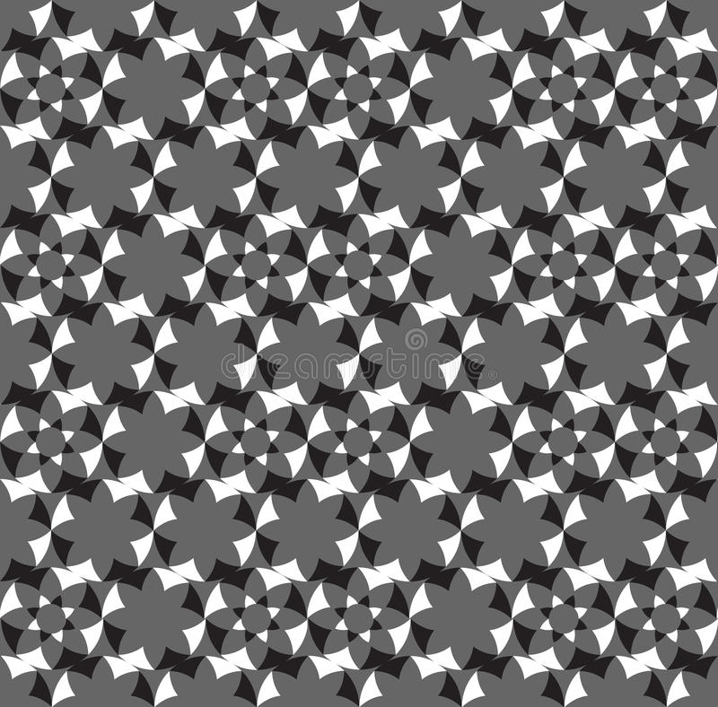 Seamless abstract geometric decorative background. Flower Black and White pattern vector illustration