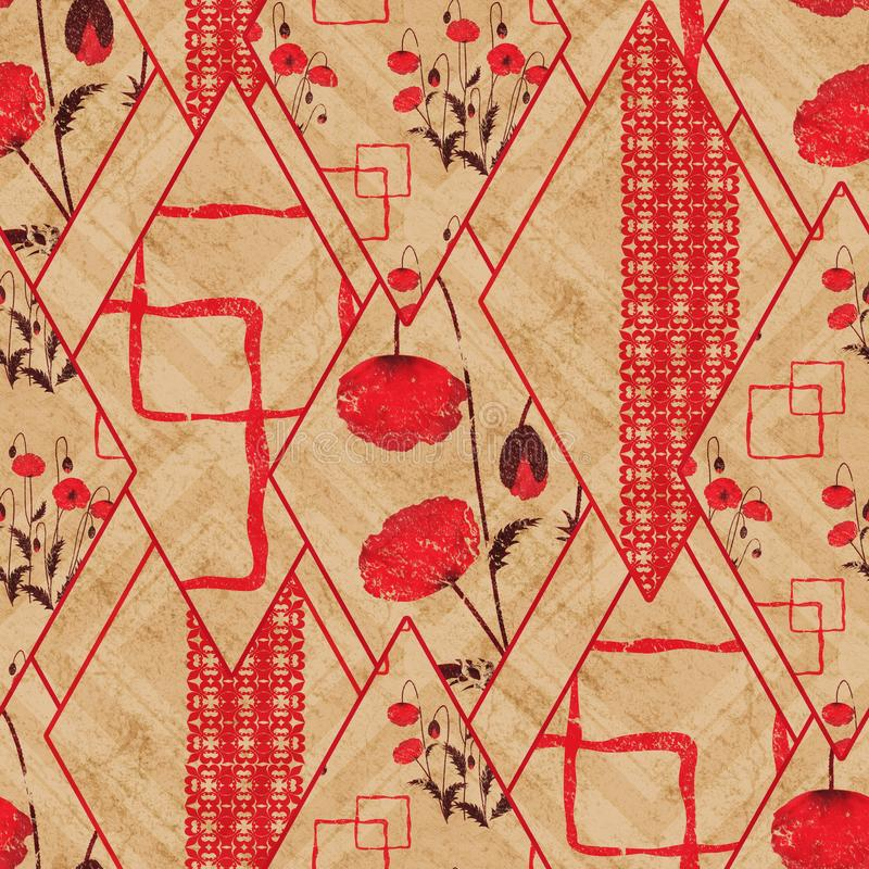 Seamless abstract geometric, floral pattern. Red, beige background. Patchwork. vector illustration