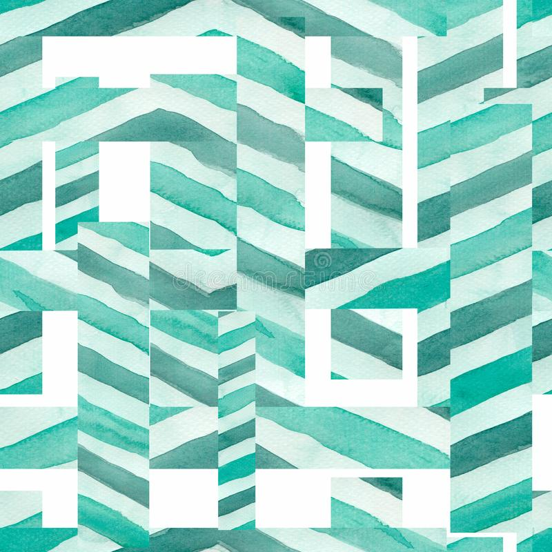 Seamless Abstract geometric line pattern .Line texture in green color. stock illustration