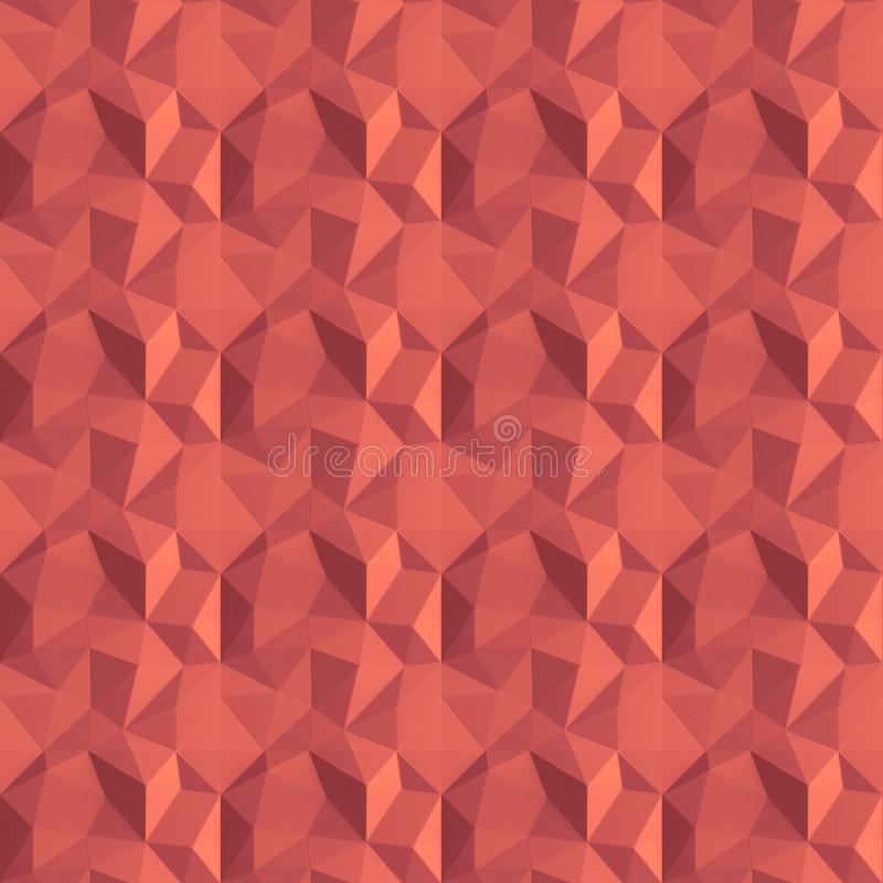 Seamless Abstract geometric living coral background pattern. Color of the year 2019. Geometric design, template for layout, web. Site, creative background of royalty free stock photos